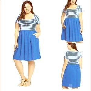 Torrid Blue White Stripes Skater Dress Size 3 0601